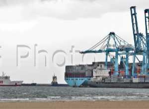 Terminal de contenedores APM vista desde la playa del Rinconcillo en Algeciras.